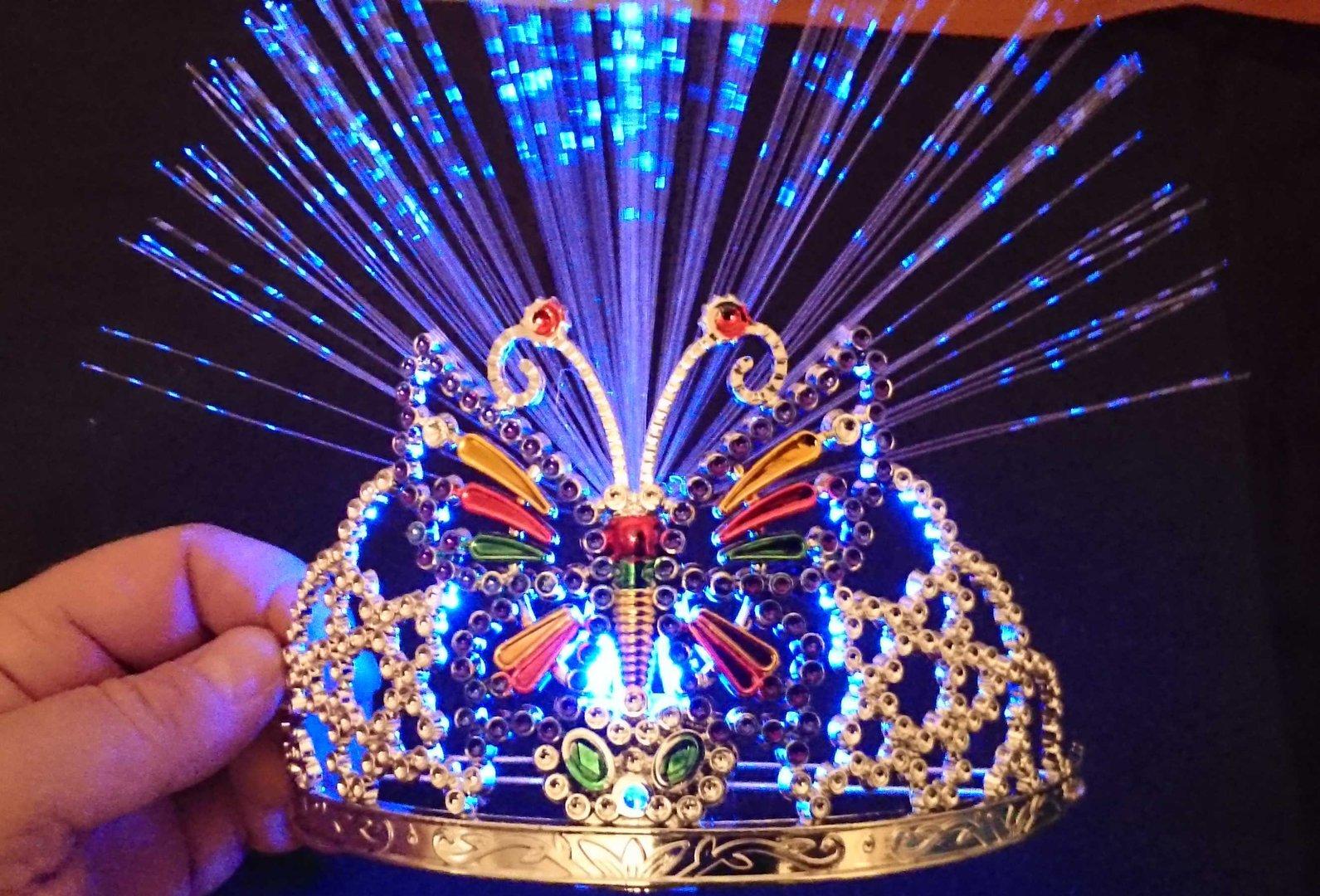 Led Crown Tiara Princess Butterfly Luminous Hairband