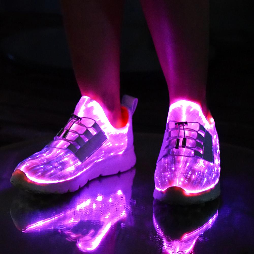 info for 43a1c 184c4 Leuchtende RGB LED Glas Faser Glasfaser Schuhe 7 Farben + Farbwechsel USB  +AKKU