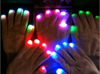 GLOVEs LED BLINK LEUCHT HANDSCHUH FLASHY FINGERS blinkende Finger weiss