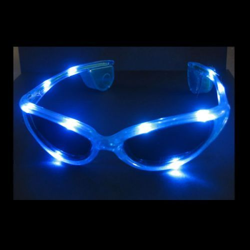 Blink Brille LED leucht BLAU CRAZY GLASSES blue Leuchtbrille 3 Programme
