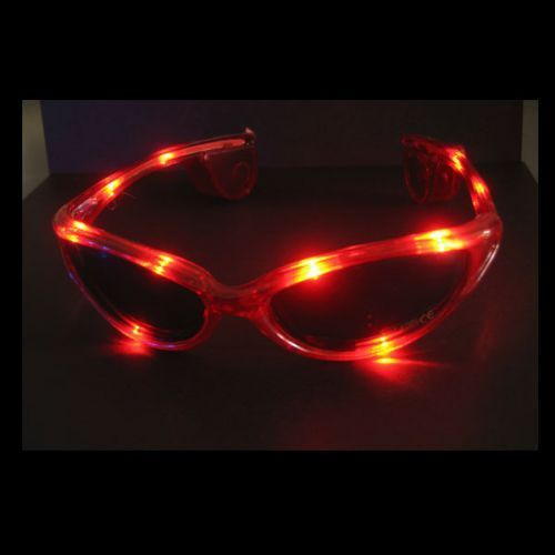 Blink Brille LED leucht Brille ROT CRAZY GLASSES red Leuchtbrille blinkend