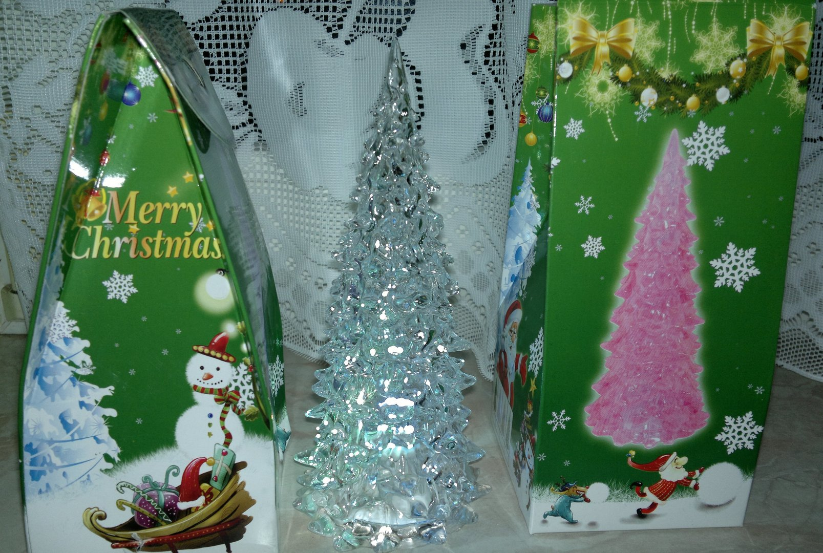LED Christmas tree flashing function color changing battery 17cm