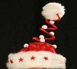 rabo LED Weihnachtsmütze Spirale Pelzrand 5 Leuchtsterne xmas bommel Weihnachts Mütze