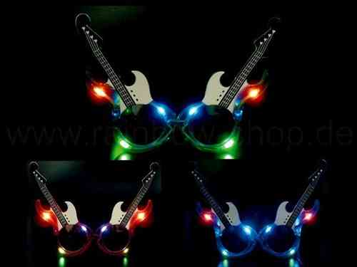 Leucht Brille LED gitarre Guitarre rot grün blau- CRAZY FLASHING GLASSES.flashing
