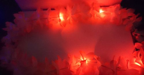 LED Hawaii Kette Blumenketten mit Licht Hawai orange blinkend Blumenkette