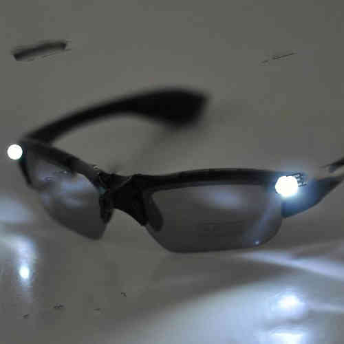 LED Leucht Brille ROTER LASER LED weiß - 3 MODI Red Laser IR Power lights
