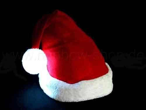 rabo Weihnachtsmützen WEIHNACHTS MUETZE Pelzrand MIT LEUCHTENDER BOMMEL LED