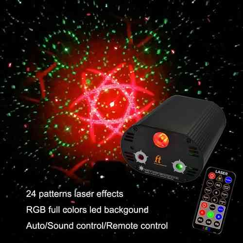 NEU 2018 - 250 mW LASERSHOW F050 + RGB Full Color LED 24 Patterns Muster Fernbedienung