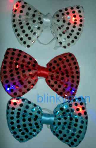 LED Blink Leucht Pailletten Schleife Glitzer Fliege NEU 2016 TOP Party fun