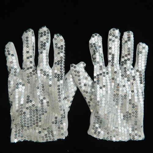 GLOVEs NEU 2021 ! 1 Paar Pailletten LED Blink leucht Handschuh LEUCHT FINGER JACKSON weiss