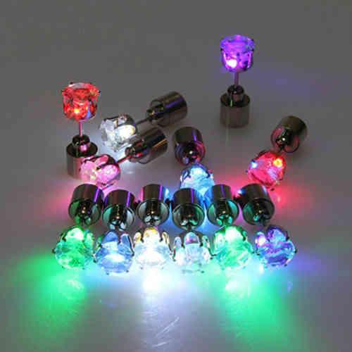 FG LED Ohrstecker Ohrringe LED Schmuck Disko Mode rot grün blau weis