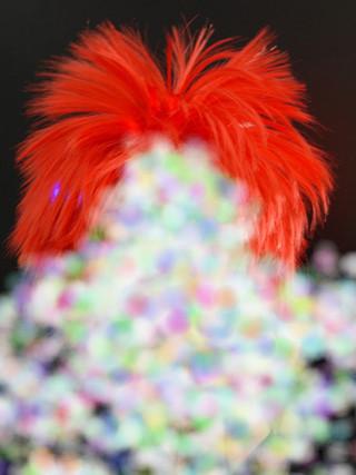 CL LED PERÜCKE ROT Haare blinkend leuchtend Fasching Karneval bunt