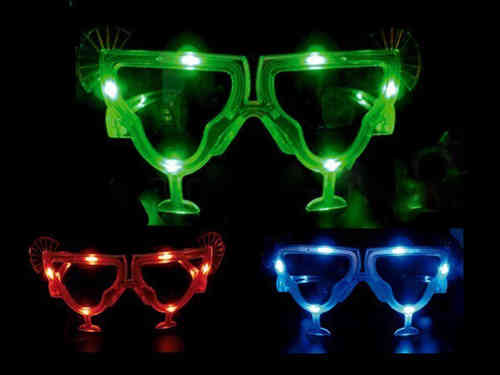 RB Leucht Brille LED Cocktail Glas grün rot blau --blinkende Kocktailbrille Prosit