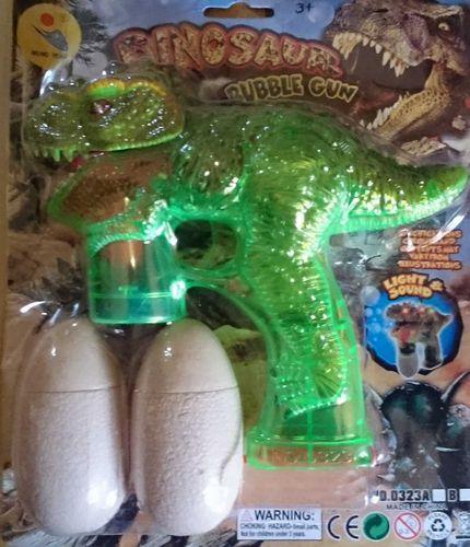 funtrading SEIFENBLASEN PISTOLE BUBBLE GUN LED Dino mit Licht und Sound gebruell seifen blasen