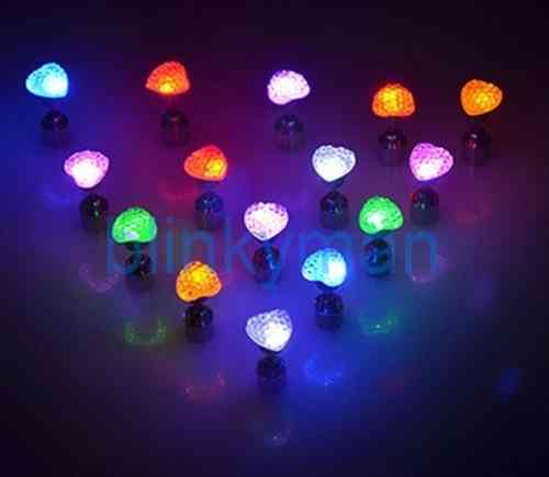LED Herz Ohrstecker Ohrringe LED Schmuck Disko Mode multicolor bunt mc HERZ Form
