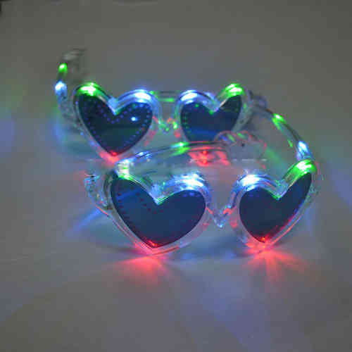 NEU Space LEUCHT LED BRILLE Transparent HERZ mit MULTICOLOR LEDs Light Heart Star