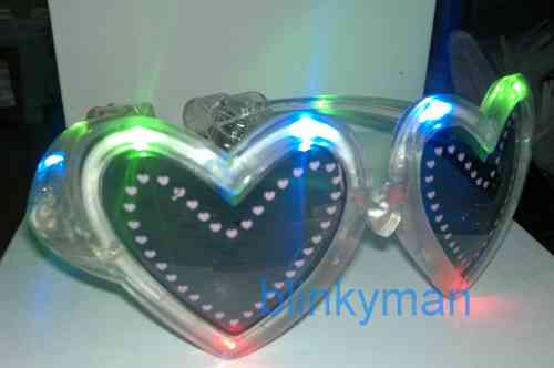 leucht Brille LED HERZ transparent multicolor crazy flashing heart glasses goggles