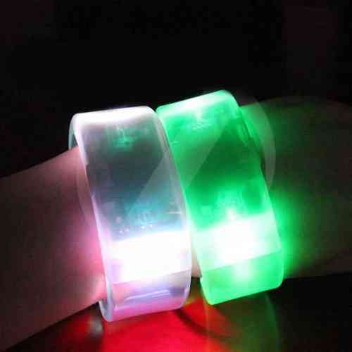 NEW LED Leucht Armband Sound active transparent 2,5 cm breit Flashing Bracelet blinken farbig