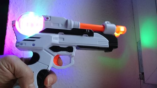 2018 Space Wars LED Pistole Laser Gun Licht Sound Effekten LASER Light DOUBLE Fire