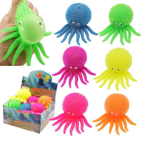 puckator Fluffy Oktopus Licht 10 cm FLUFFY IGEL BALL Blinkend Knautschbar Oktopus