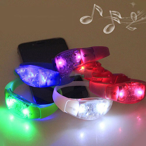 NEU Sound Sensor active LED leucht Armband Musik Activated SILIKON BRACELET 7,5x2,5 BIG VERSION