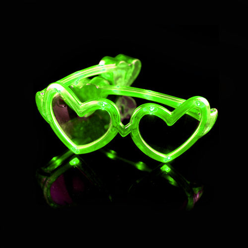 Leucht Brille LED HERZ GRÜN - GREEN HEART crazy flashing heart glasses goggles