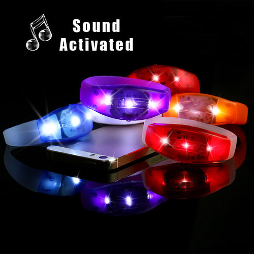 NEW GF Sound gesteuertes 3 LEDs  LED LEUCHT ARMBAND Geraeusch Activated BRACELET white band