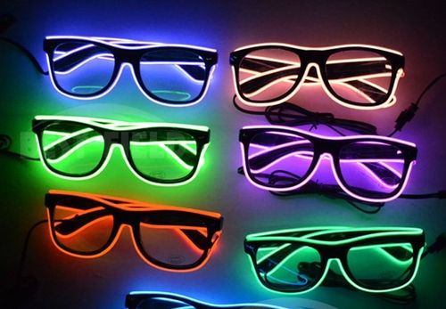 NEU Party Brille EL Disco 3 prog Rave Partybrille wayfarer ray EL wire leuchtkabel