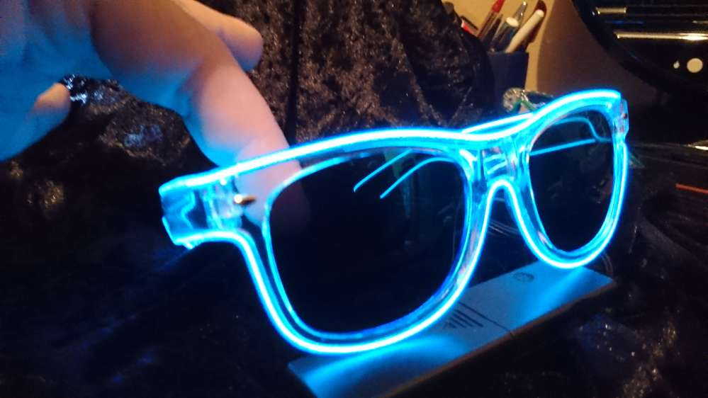 Sunglasses Party Luminous Spectacles EL ray soundactive Blue geto