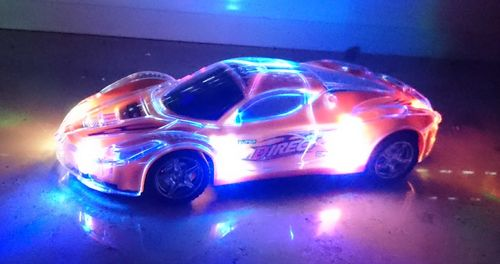 R/C Auto 2,4 GHz mit Fernbedienung Licht LED CAR Länge: 20cm  blau, rot, orange