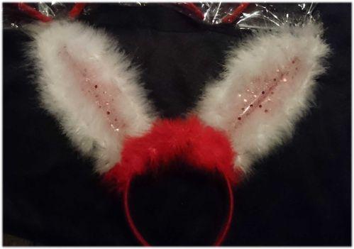CL LED Haarreifen Leucht Blink Bunny Hasen Ohren Häschen Haar Reif blinky Haarreif Rot weiss