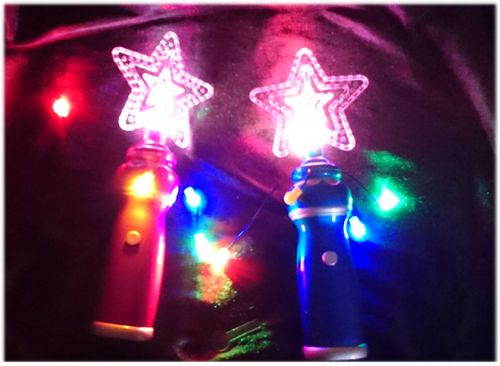 cl LED Rotor Mega Wirbler KRISTALL STERN fliegende BÄNDER bunte LEDs BLAU PINK