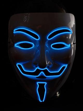 CL Hit der Saison ! Party Leuchtmaske EL MASKE MUSKETIER Anonymous ElektroLumineszens Schlauch