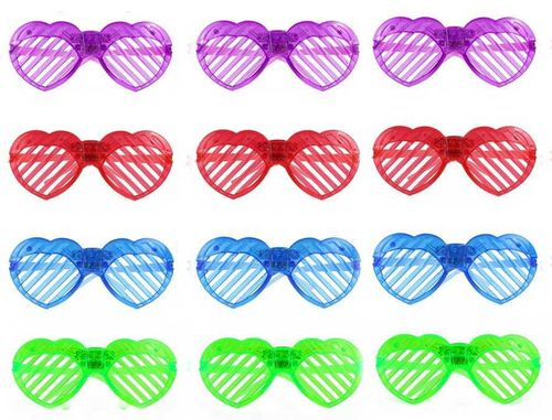Heinemann Blink Brille LED leucht HERZ GLASSES HEART Leuchtbrille 3 LEDs blau, grün, rot