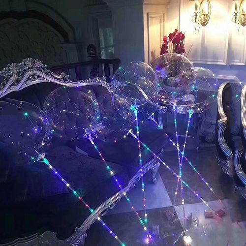 GF LED Bubble Ballon mit STICK Stab Multi Color Kupferdraht Lichterkette Mega Ball