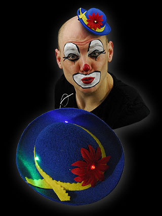 LED MINI MELONE CLOWN BLAU GELB oder ROT GLITZER GLITTER HUT + LED Licht