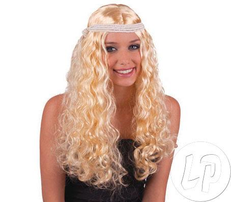 CL PERÜCKE Haare Fasching Karneval Perücke Engel lange lockige Haare mit Stirnband BLOND
