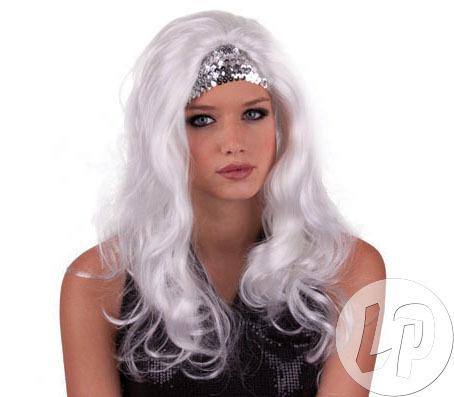 CL PERÜCKE Haare Fasching Karneval lange Haare Perücke gogo Tänzer WHITE