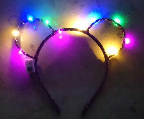 CL LED Haarreifen Leucht Blink mouse Maus Ohren Mausohren Haar Reif blinky Haarreif