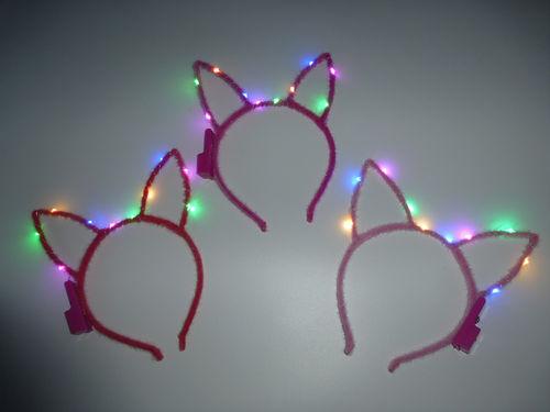 CT LED Haarreifen Leucht Blink Hasen bunny Ohren Hasenohren Haar Reif blinky Haarreif