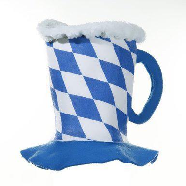 stolz Bierhut - Bavaria - Bayern Oktoberfest Hut - blau weiss Rauten Bierkrug Partyhut