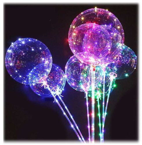 GF LED Bubble Ballon mit STICK Stab Multi Color Kupferdraht Lichterkette Mega Ball