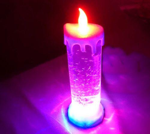 CT RGB Schneekugeleffekt XMAS LED Weihnachts KERZE Glitzer Flitter Lampe usb +batterie