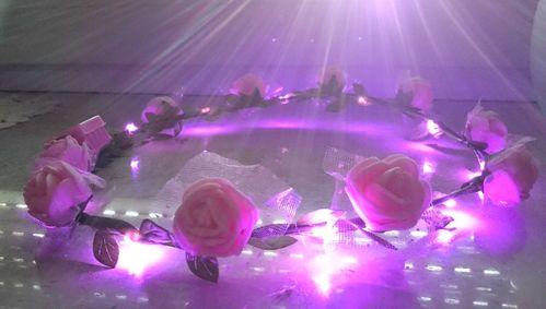 RB LED Haarreifen Leucht Blink Braut Blume Krone pink Blumenkranz Haar Reif blinky Haarreif