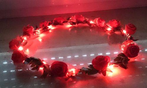 RB LED Haarreifen Leucht Blink Braut Blume Krone ROT Blumenkranz Haar Reif blinky Haarreif