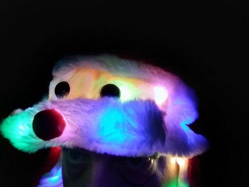 Rainbow WEIHNACHTS Wackel Mütze Weihnachtsmann Santa LED 3 Leuchtmodi ca.60x20